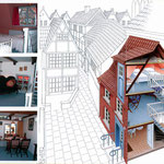 Flyerillustration für eine kleine Pension im Bremer Schnoorviertel