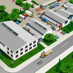 Luftbildillustration eines Firmenareals (Computerzeichnung)