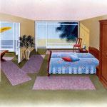 Manuelle Airbrushzeichnung einer Seniorenwohnung