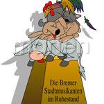 Illustration der Bremer Stadtmusikanten im Ruhezustand