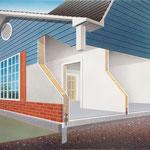 Prospektillustration, manuelle Airbrushzeichnung