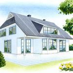 Gebäudeskizze, COPIC-Markerzeichnung für einen Immobilienprospekt