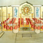 Einrichtungsskizze für ein griechisches Restaurant, Airbrushzeichnung