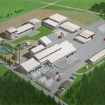 Luftbildillustration eines Firmenareals, Airbrushzeichnung