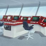 Schiffssteuerstand, Prospektillustration in  Airbrushtechnik (Bildausschnitt)