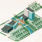 Modellzeichnung einer Hotelanlage in Polen, Airbrushillustration