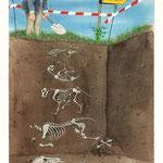Aquarellillustration: Ausgrabungsstätte der Bremer Stadtmusikanten