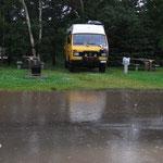 Dauerregen auf dem Campingplatz in Chéticamp