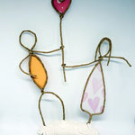 Papierdrahtfigur Pärchen mit rosa Herz