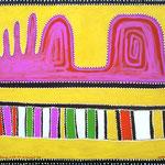 """""""Hills at Argument Gap"""", 100 cm x 70 cm, Januar 2019, veränderte Kopie nach Qeenie McKenzie, 1996"""
