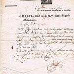 Abdallah d'Asbone : Lettre du Général CURIAL (an 10 - 1802)  Recto