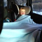Wieder im Auto wurden sie warm