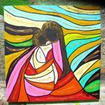 madonna con bambino su tappeto rosso 30x30 2013