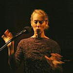 Lauren Newton, american friend and vocalist, here acting in a live performance