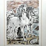 Giorgio DE CHIRICO - Cavalli antichi - Litografia a colori firmata a matita in basso a destra.