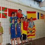 Terceros de España relevo Cadete: Jorge Marzo, Christian Peña, Daniel Lama y Miguel Navarro
