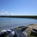 Mittagspause mit Bad im See.