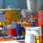Cleaning crabs, Penang - Oil on Ampersand board, 12 x 12 inches (30 x 30 cm).  Private client USA