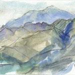 荻野地区にある西山三山は相州大山の展望台でもあります どこから見ても美しい三角錐の大山は前景の山並みと相まって何十枚と描いても飽きず、一番多く描いていると思います