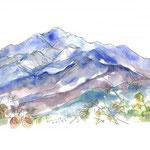 ハイキングで人気の仏果山に連なる経ヶ岳 その山頂にあるベンチから描いた大山