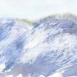 北丹沢の加入道山を道志側から登り、大室山の北斜面から見た山頂 お気に入りのスケッチ 何十枚に一枚、こうしたスケッチが描けることがあります