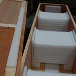 Versandbehälter für zehn Liegenplatten