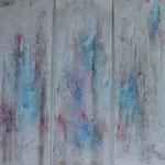 """""""Ecorces"""". Acrylique & pastel, tryptique sur toiles 120x40."""