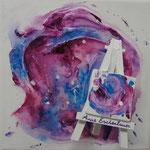 """""""Paint"""" (Peinture, le chevalet). Acrylique & résine sur toile 3D 20x20."""