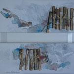 """""""Messager"""". Acrylique & parchemins sur dyptique 50x20."""
