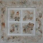 """""""Correspondance"""". Toile 3 D de 60x60/15x15. Acrylique & techniques mixtes."""