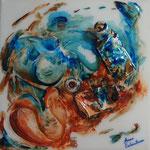 """""""Paint"""" (Peinture, les tubes). Acrylique & résine sur toile 3D 20x20."""