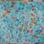 """""""Water flowers"""" (Fleurs d'eau). Peinture à la cuve & acrylique sur toile 3D 120x100."""