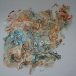 """""""Chrisalis"""" (Chyisalide). Toile 3D de 90x90. Acrylique & pastel."""