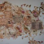 """""""Post-scriptum"""". Acrylique & techniques mixtes sur toile 3D 150x120."""