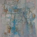 """""""Pastel lagoon"""" (Lagon pastel). Acrylique & pastel sur toile 45x55."""