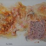 """""""Lyric"""". Acrylique & techniques mixtes sur toile 3D 120x50"""