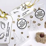 Stempelset Weihnachten und Stempelset Zeichnen für die goldenen Punkte und Kringel