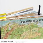 Urlaubstagebuch 8x12 inch selber machen und mit Wort und Textstempel verzieren