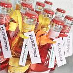 Flaschenanhänger für Partys - Texte von einem Monatsstempel-Set