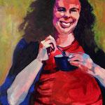 Rebecca, 48x48, acrylic on canvas, by Polina Reisman