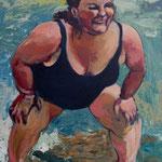 At the Beach, 24x48, acrylic on canvas, by Polina Reisman