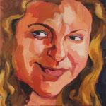 Mila, 24x24, acrylic on canvas, by Polina Reisman
