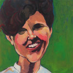 Gabrielle, 24x24, acrylic on canvas, by Polina Reisman