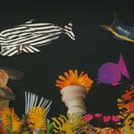 Riff mit Blusenfisch, collages on cardboard, 2012, 32 x 25,3 cm