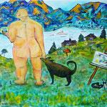 Olaf Gulbransson und sein Hund am morgendlichen Tegernsee, oil on canvas, 50 x 60 cm, 2019