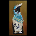 Egyptian Penguin No 17, plastic, sticker on golden cardboard, 16,4 x 8,5 cm, 2019
