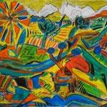 Oberland, Oil chalk on Paper, 2013, 21 x 29,5 cm