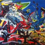 Ruby, acrylic, tape on canvas, 30 x 40 cm
