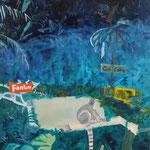Ciné Catta – ce soir: Fantôm de la Jungle, oil, collage on canvas, 100 x 80 cm, 2015