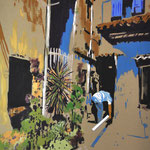 streets of Italy two, 80cm x 100cm acrylic on natural canvas